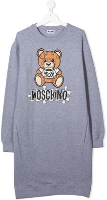 MOSCHINO BAMBINO Jigsaw Bear Logo Print Sweatshirt Dress