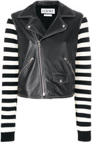 Loewe biker jacket - women - Cotton/Lamb Skin/Polyamide/Wool - 36