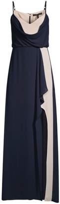 BCBGMAXAZRIA Colorblocked Draped Georgette Gown