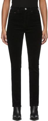 RE/DONE Black Corduroy Double Needle Long Jeans