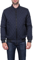 Tahari Faux Leather Trim Quilted Bomber Jacket