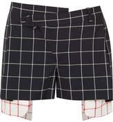 Monse Asymmetric Layered Checked Wool-crepe Shorts - Navy