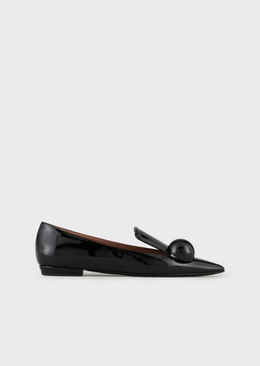 Emporio Armani Loafers With Patent-Leather Toes And Round Buckle