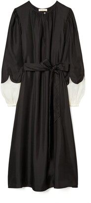 Tory Burch Scalloped Sleeve Silk Dress