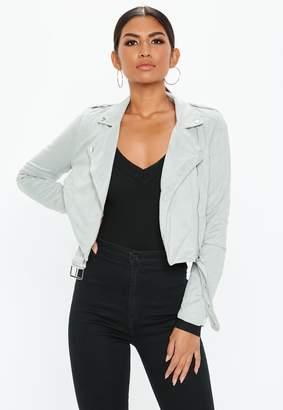 Missguided Grey Cropped Lightweight Faux Suede Biker Jacket