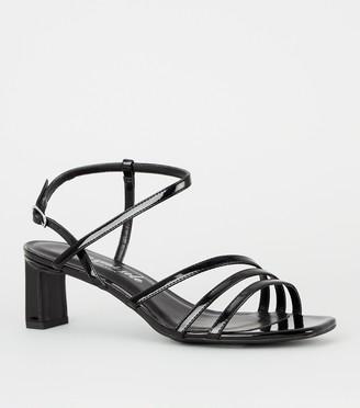 New Look Patent Strappy Slim Block Heel Sandals
