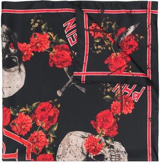 Philipp Plein Roses print scarf