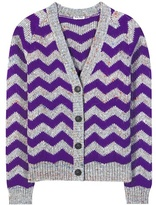 Miu Miu Chevron Wool-blend Knitted Cardigan