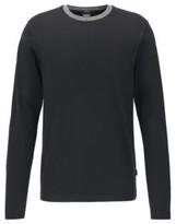 HUGO BOSS - Slim Fit T Shirt In Cotton With Melange Collar - Black