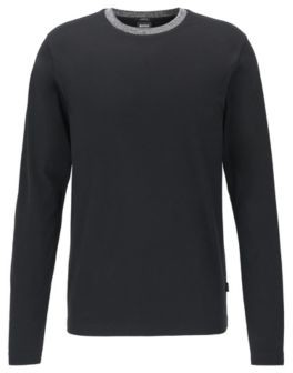 HUGO BOSS Slim Fit T Shirt In Cotton With Melange Collar - Black