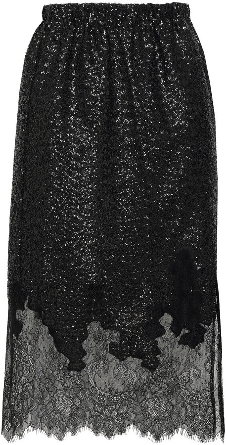 Robert Rodriguez Chantilly Lace And Sequined Knitted Skirt