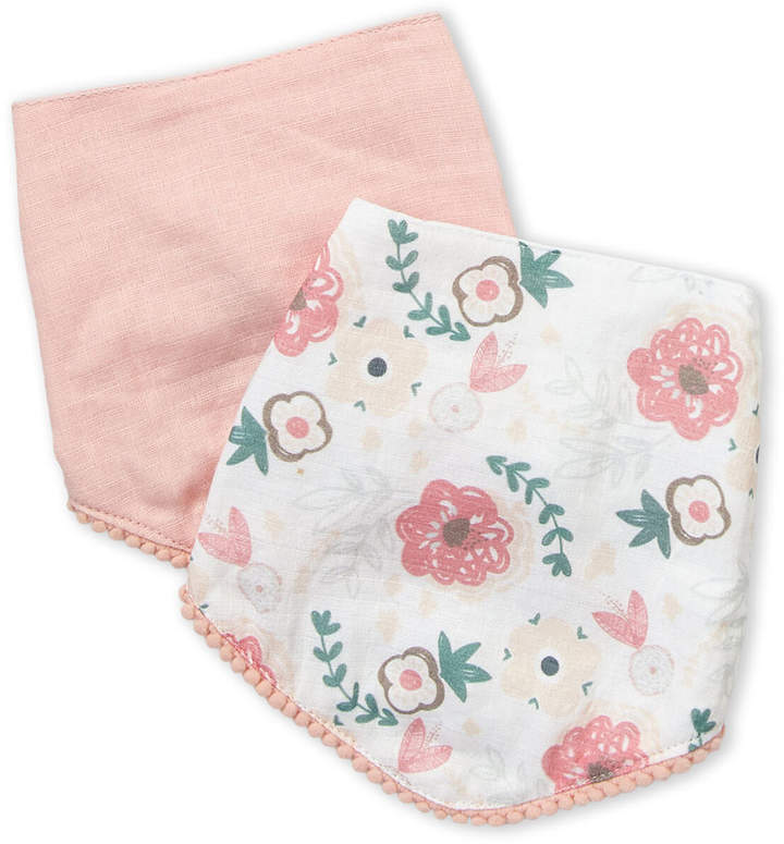 Baby Essentials Chick Pea (Newborn Girls) Two-Pack Floral & Solid Bib Set