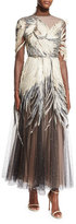 Valentino Feather-Embellished Long-Sleeve Tulle Gown, Black/Cream