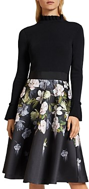 Ted Baker Nerida Floral Print Knit and Satin Dress