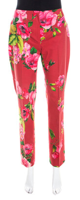 Blumarine Red Floral Print Cotton Straight Fit Trousers M