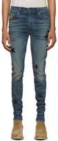 Amiri Indigo Stack Leather Stars Jeans