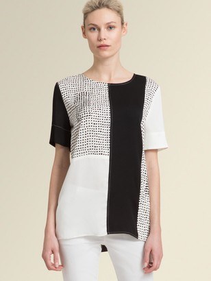 DKNY Donna Karan Women's Patchwork Painted Polka Dot Short-sleeve Top - Black And White - Size XX-Small