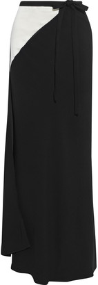 Haider Ackermann Two-tone Satin-paneled Crepe Maxi Wrap Skirt
