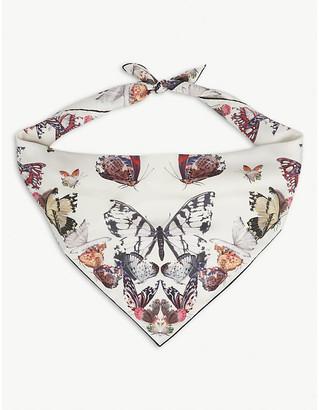 Alexander McQueen Butterfly-print square silk scarf