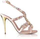 Oscar de la Renta Imogene Nude Satin w/Crystals High Heel Sandals