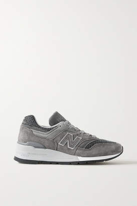 New Balance 997 Suede And Houndstooth Tweed Sneakers - Gray
