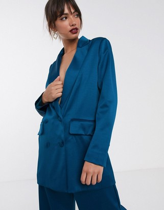Asos Edition EDITION double breasted blazer in satin-Green