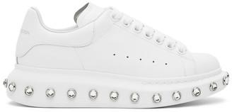 Alexander McQueen White Rhinestone Oversized Sneakers