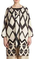 Marina Rinaldi, Plus Size Nilo Silk Gazar Geometric-Print Coat