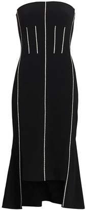 David Koma Crystal Corset Strapless Midi Dress
