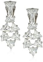 "Kenneth Jay Lane CZ by Bridal Collection"" 25 cttw Stacked Trillions Clip-On Earrings, 25 CTTW"