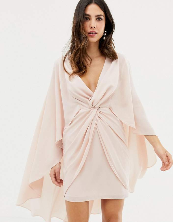 Asos Design DESIGN knot front mini dress with cape