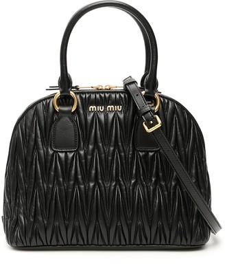 Miu Miu Matelasse Logo Top Handle Tote Bag