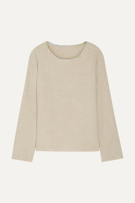 The Elder Statesman Embroidered Cashmere Sweater - Beige