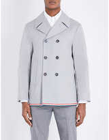 Thom Browne Stripe-detailed Cotton Peacoat