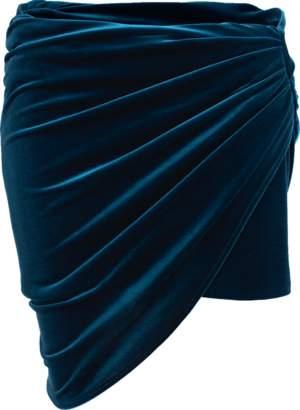 Alexandre Vauthier Velvet Jersey Wrap Mini Skirt