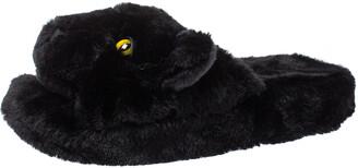 Dolce & Gabbana Black Faux Fur Panther Plush Flat Slides Size 40