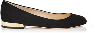Jimmy Choo JESSIE FLAT Black Suede Round Toe Pumps