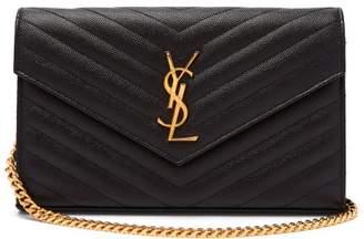 Saint Laurent Monogram Chevron-quilted Leather Cross-body Bag - Womens - Black