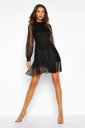 boohoo Tall Dobby Mesh Skater Dress
