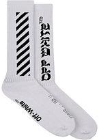Off-White Men's Striped Cotton-Blend Mid-Calf Socks-White