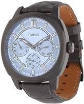 GUESS Men's Prime 43mm Grey Leather Band IP Steel Case Quartz Blue Dial Analog Watch W0660G2