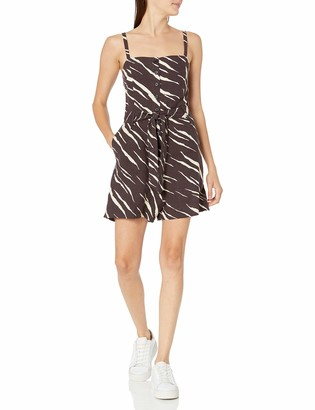 Rails Women's Wells Black Abstract Tiger Short Romper X-Large