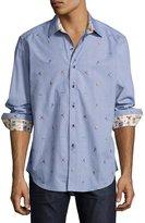 Robert Graham Blitz Long-Sleeve Sport Shirt, Blue