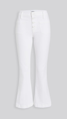 Frame Le Bardot Crop Flare Jeans with Exposed Buttons