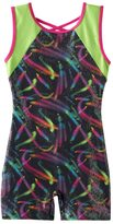 Jacques Moret Girls 4-14 Swirl Colorblock Biketard Leotard