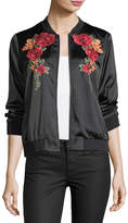 Neiman Marcus Floral-Embroidered Bomber Jacket, Black