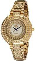 Adee Kaye #AK9-30LG/CR Women's Tone Dazzling Bling Collection Crystal Accented Watch