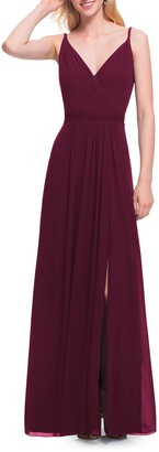 #Levkoff Surplice Neck Chiffon A-Line Gown
