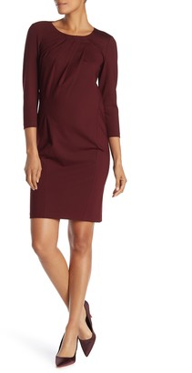Lafayette 148 New York Pleat Neck 3/4 Sleeve Sheath Dress