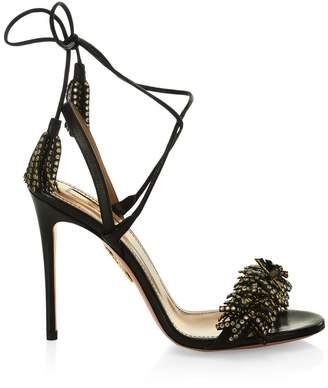 Aquazzura Wild Crystal Leather Tied Strap Sandals